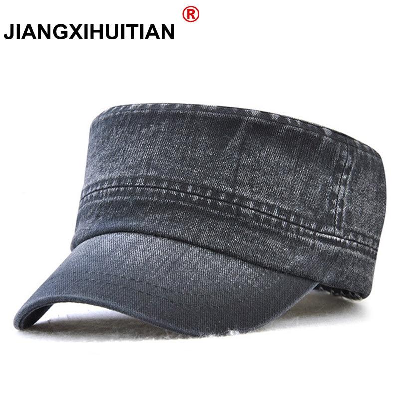 High Quality Brand Cotton Men s Military Cap Solid Color Flat Top Hat  Fashion Casual Hat Men Women Outdoor Sport Visor Dad Cap 6bb51bb14674