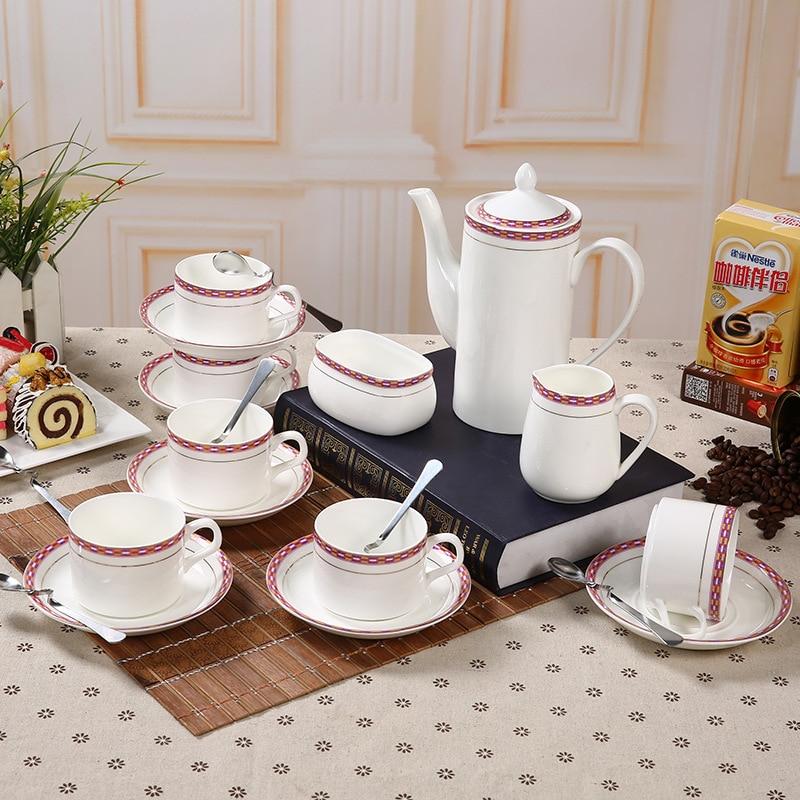 European Style Ceramic Coffee Cup Pot Set 15 Pcs Coffee Pot Cup