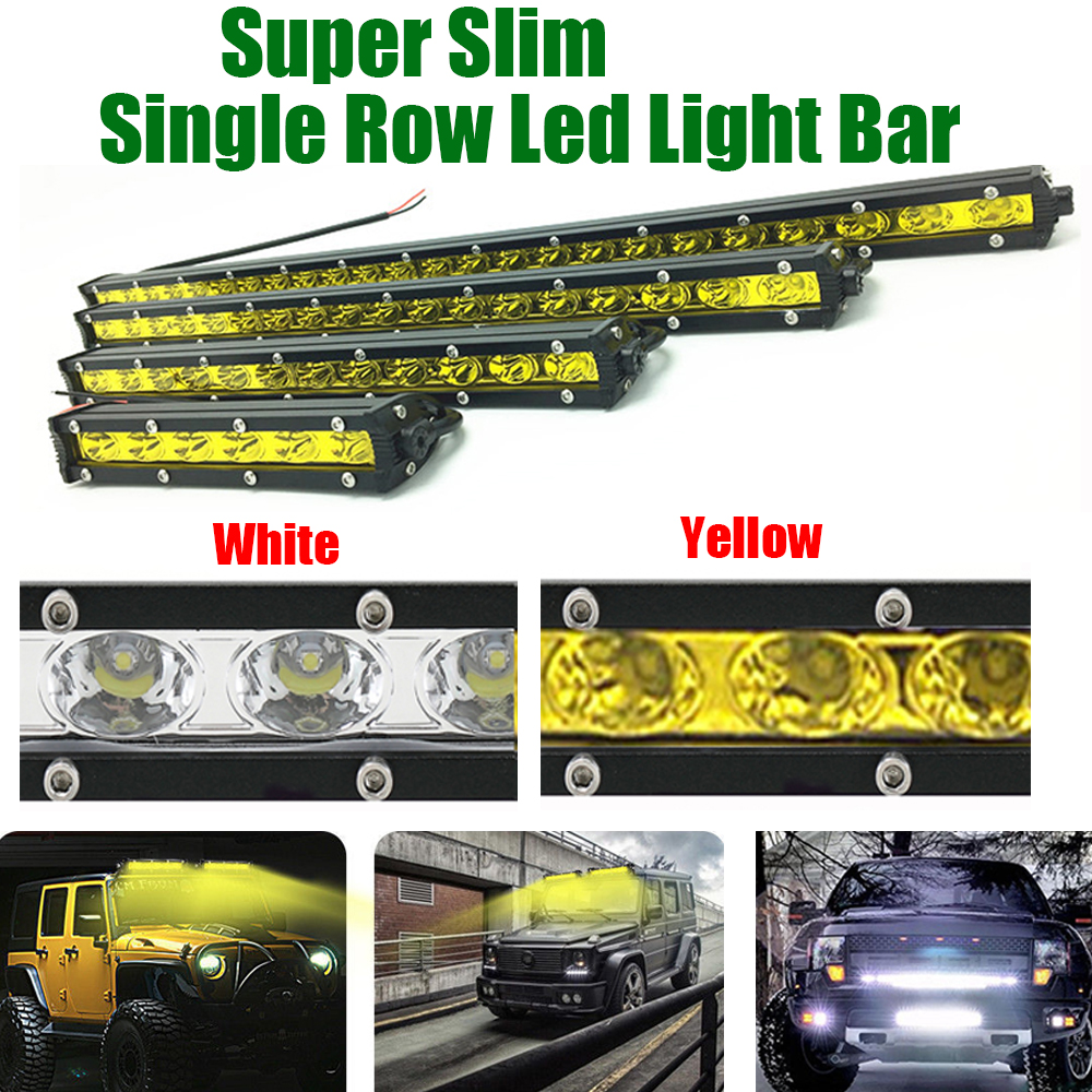 7INCH 13 20 25 32 38 45 50 inch Slim Single Row White Yellow Led Work