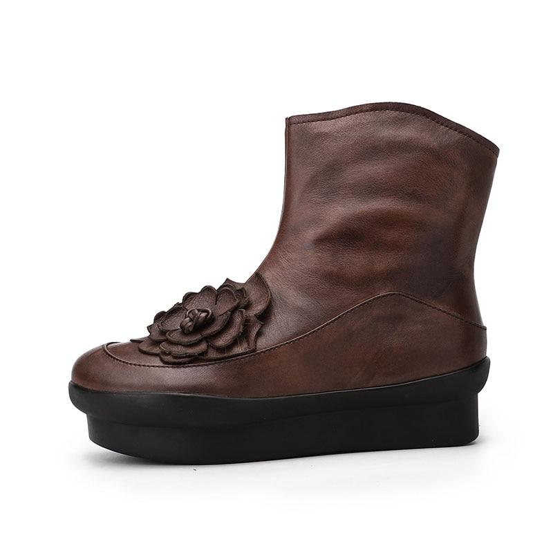 Glissière À Main Chausson Rond Plate Fleur 2018 Femmes Fermeture Taille Plate La Marron Véritable forme Chaussures Orteils Dame Rétro Bottines Vallu Bottes En Cuir THxwBqa