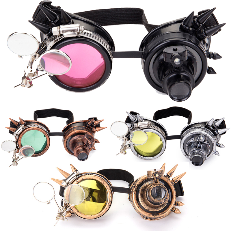 2019 Fashion Men Women New Arrival Fashion Welding Steampunk Goggles Glasses Rivet Retro Gothic Cosplay Punk Goggles 9 Colors