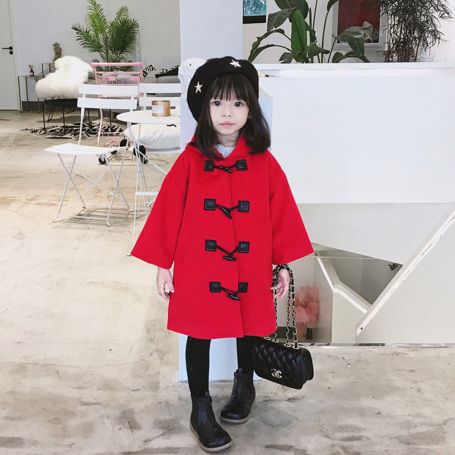 Toddler girl wool jacket solid red Horns button kids winter coat woolen coats one button design longline woolen coat page 7