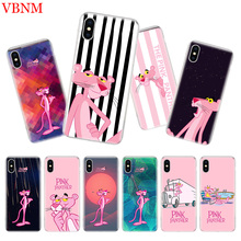 Pink Panther Fit Luxury Silicome Phone Case For iPhone 7 8 6 6S Plus X 10 Ten XS MAX XR 5 5S SE Art Customized Cover Cases Coque