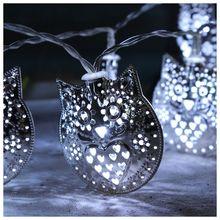 10 Led Fairy Lovely Silver Owl Luminaria Батарея с питанием от батареи Светильник LED 1m для рождественской гирлянды на окне