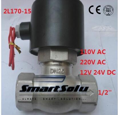 Livraison gratuite 2L170-15 2Way NC salut - Temp 1/2 '' en acier inoxydable vapeur électrovanne PTFE 24 V DC