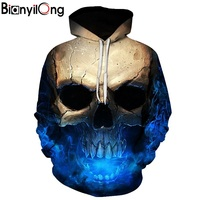 Skull Headr Men Hoodies Sweatshirts 3D Printed Funny Hip HOP Hoodies Novelty Streetwear Hooded Autumn Jackets