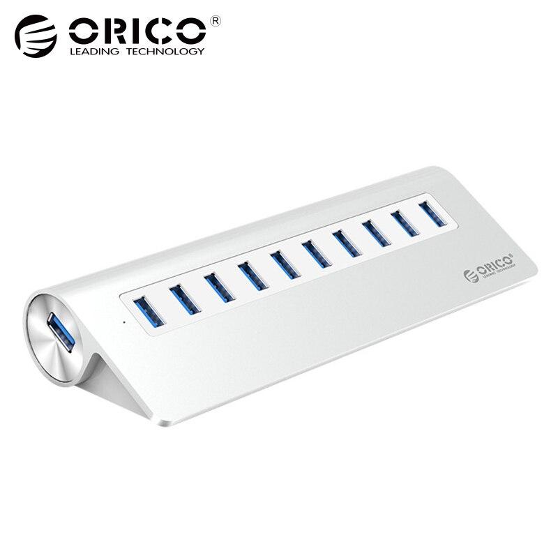 ORICO 10 USB3.0 концентратора Порты SuperSpeed HUB сплиттер адаптер 5 Гбит для Windows, Mac портативных ПК сотового телефона с AU ЕС, США, Великобритании Подключ...