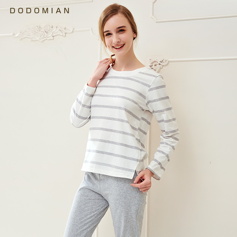 Brand   Pajamas   Cotton Stripes Sleepwear Casual Long Sleeve Nightgown O-neck Women   Pajama     Set   Bottom Shirts +Long Pants M-XXL