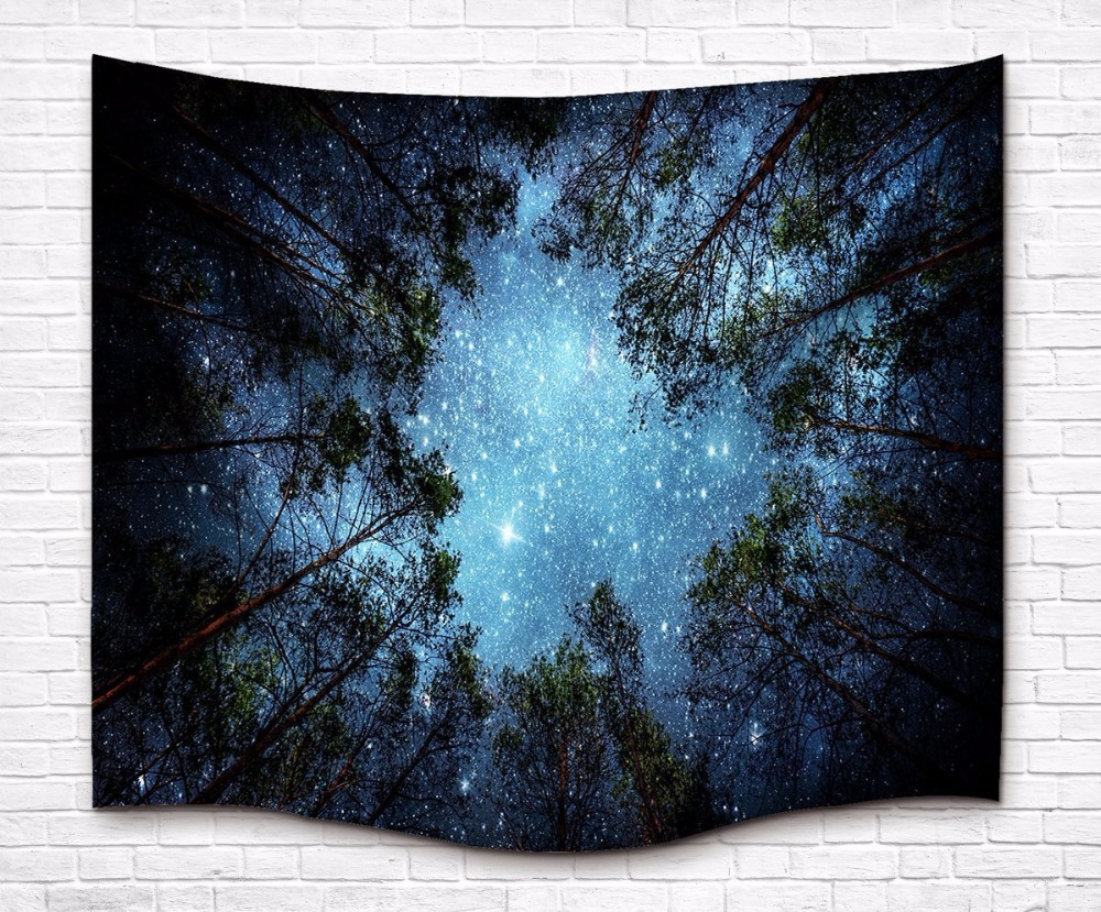 Amazing Graceful Night Starry Sky Beautiful Sight Printed Wall Hanging Tree Natural Scenery Tapestry Tree Living Room Decor