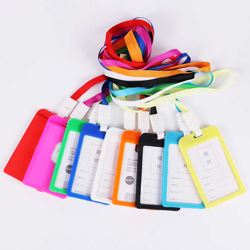 1PC Candy Colors ID Card Holder Border Name Ldentity Badge Holders Office Working Permit Card Badge with Lanyard