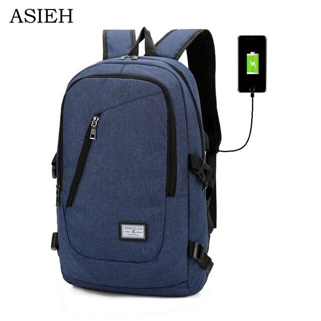 e8552305c223 Unisex casual backpack Laptop USB Charging Pack Adult Student Bag Business Backpack  Waterproof Travel Backpack rugtas meisje