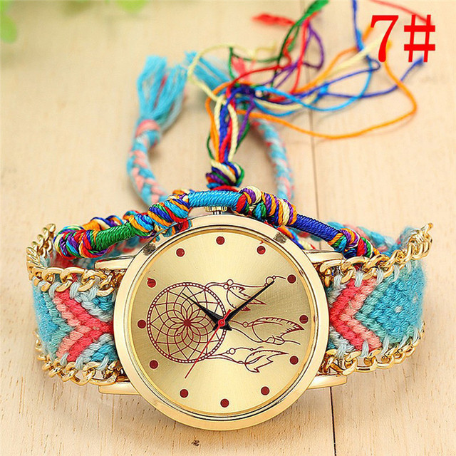 Handmade Ladies Vintage Dreamcatcher Friendship Watches Weaving bracelet Quartz Wrist Watches Relogio Masculino