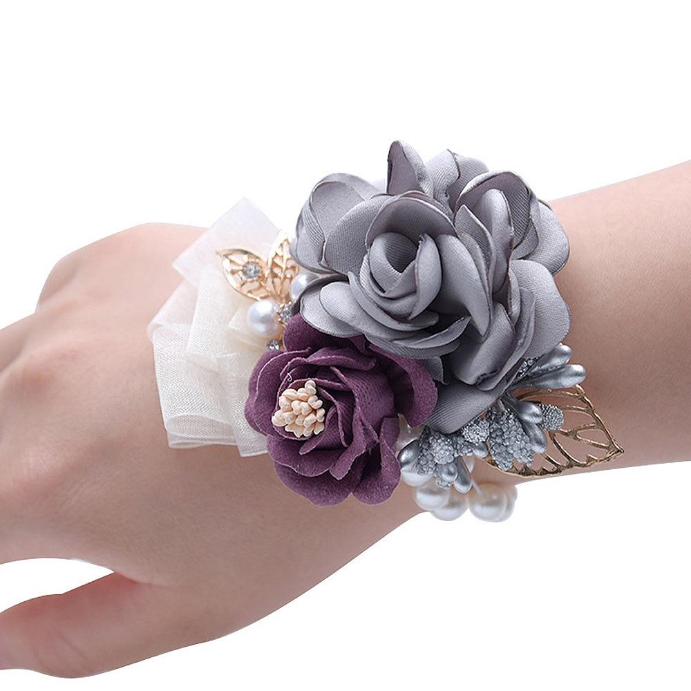 10cm Artificial Bride Bridesmaid Beaded Cloth Wrist Flowers Tea Rose WristFlower Wedding Hand Flowers Bridal Prom Accessories