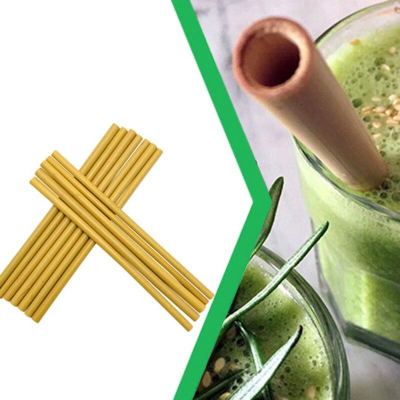 10 Stks/set Bamboe Rietjes Herbruikbare Milieuvriendelijke Party Keuken Met Schoon Brush Drop Shipping Groothandel