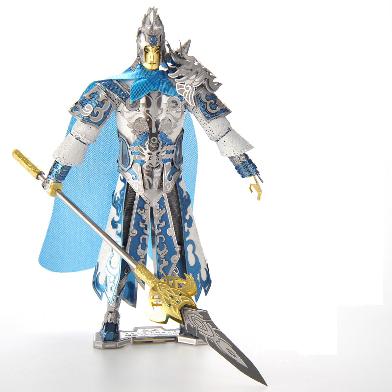 Microworld 3D metal puzzle Zhao Yun Knight Model DIY Laser Cut Jigsaw Model gifts For Adult Educational Toys Desktop decoration t90a tank model silver color 3d diy laser cutting model educational diy toys jigsaw puzzle best birthday gifts