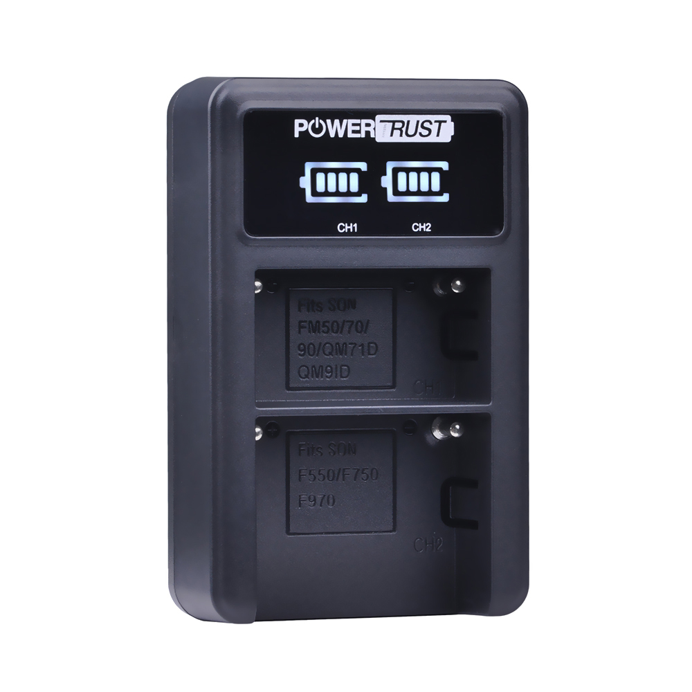 PowerTrust LED Dual USB Charger For Sony NP-FM50 NP-FM70 NP-FM90 NP-FM500h NP-F550 NP-F570 NP-F750 NP-F770 NP-F960 NP-F970 np f550 camcorder battery for sony np f330 np f530 np f570 np f730 np f750 np f970 hi 8