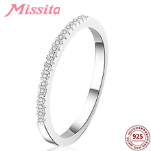 цена на MISSITA 100% 925 Sterling Silver Trendy Single Row Crystal Rings For Women Girls Gift Brand Jewelry Engagement anillos mujer