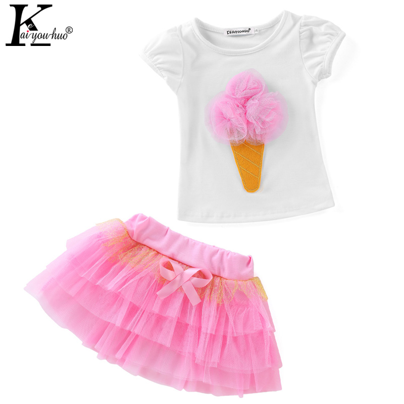 2018 Girls Clothes Sets Summer Tracksuit For Kids Sport Suits T-shirt+Tutu Skirt Children Clothing Girls Sets 3 4 5 6 7 8 Years fashion girls white vest t shirt and tutu skirt clothes set for kids girl birthday party princess summer children clothing sets