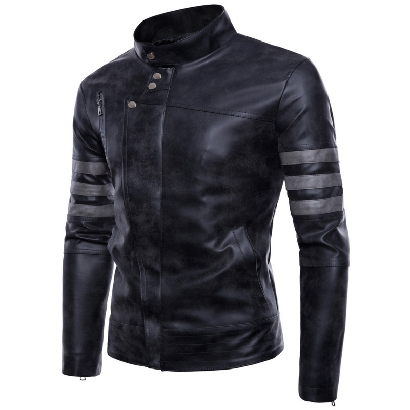 Degli uomini della Chiusura Lampo Irregolare Glassato PU uomo mens del progettista cappotti di Pelle da uomo fashion giacche - 6