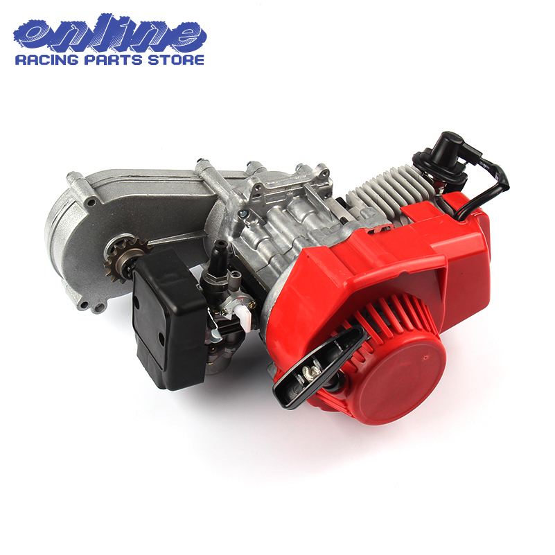 49CC 2 Stroke Motor Engine with T8F 14t Gear Box Easy to Start Pocket Bike Mini Dirt Bike Engine DIY Engine 49cc 2 stroke pocket mini dirt bike atv engine with gear box 14t t8f sprocket electric star version handle bar throttle cable