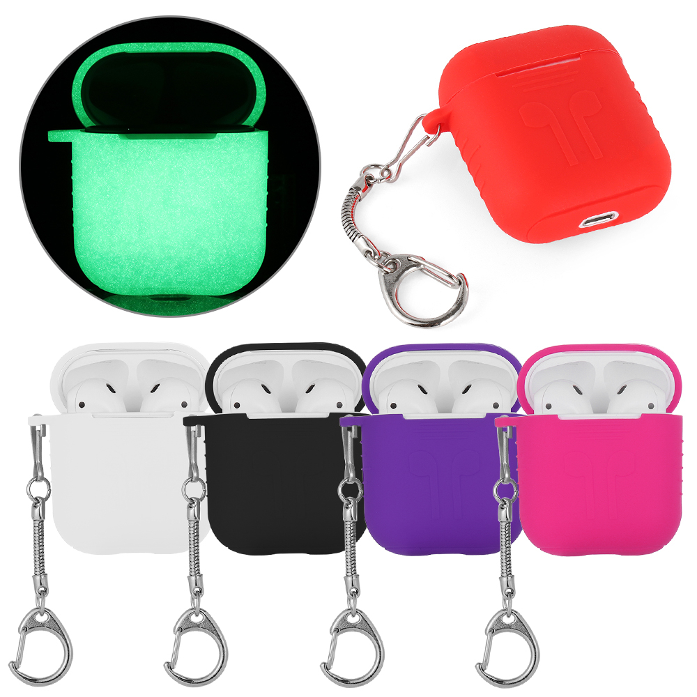 1 Pc Soft Silicone Bluetooth Wireless Earphone Case Shockproof Earphone Protective Cover For Apple Airpods With Metal Key Chain