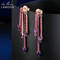 Lamoon Romantic Natrual TearDrop Amethyst 925 Sterling Silver Jewelry Drop Earrings Rose Gold Plated Earrings For