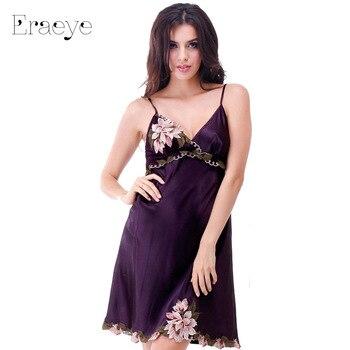 ERAEYE Plus Size Faux Slik Satin Embroidery Women Nightdress Sexy Princess Pyjamas Lingerie Sleepwear Nightie Spaghetti Strap