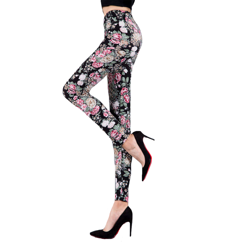 NDUCJSI Woman Leggins Floral Printed Leggings Ladies Fashion Casual jeggings Elasticity Push up Pants Female Fitness Legging in Leggings from Women 39 s Clothing