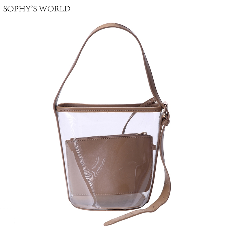 2017 Summer Jelly Women's Handbags PVC Transparent Bucket Bags Clutch Leather Women Shoulder Bag Small Tote Purse Bolsa