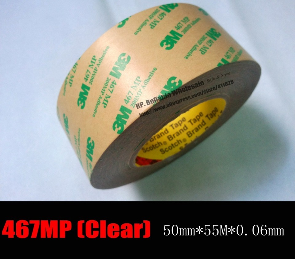 3M 467MP Super Thin Heat Resist Two Sides Adhesive Clear Tape 55M//Roll,0.06mm T
