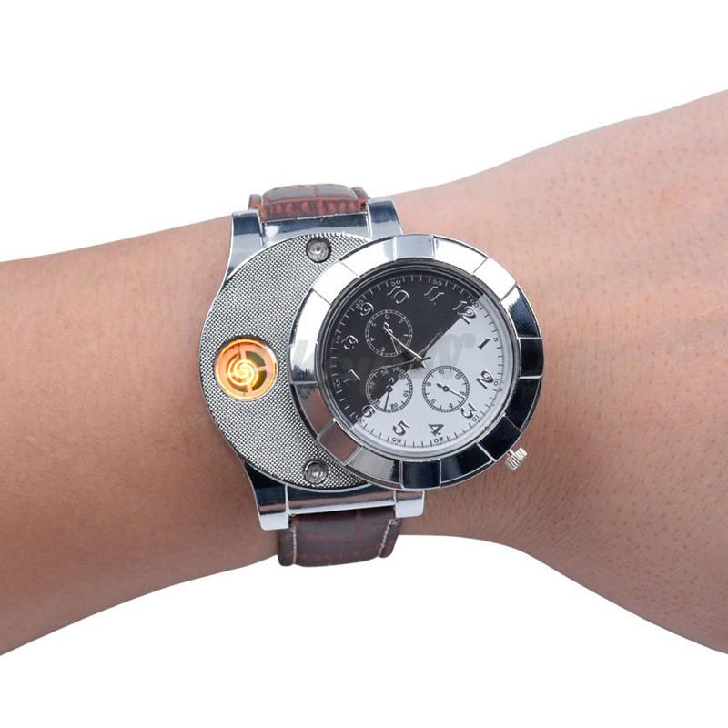 Fashion-Rechargeable-USB-Lighter-Watch-Electronic-Men-s-Casual-Quartz-Wristwatches-Windproof-Flameless-Cigarette-Lighter-WL4 (3)