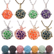 High Quality Volcanic stone Aromatherapy Diffuser Necklace Pendant Perfume Essential Lava Cages