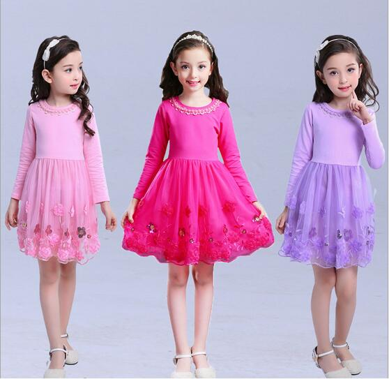 4-13Y Girl Cotton Tulle Dress 2017 Autumn Children Party Dresses Fashion Girl Fall Dress Embroidery Childrens Clothes 3