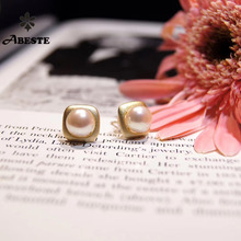 купить ANI  925 Sterling Silver Handmade Women Stud Earring Freshwater White Pearl oorbellen Roll Gold boucle d oreille Birthday Gift дешево