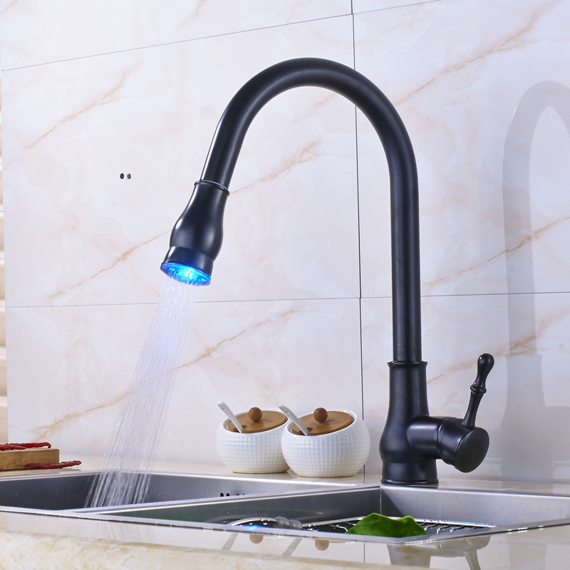 Single Handle LED Light Pull Out Kitchen Sink Faucet Deck Mounted Bathroom Kitchen Mixer Water Tap Oil Rubbed Bronze Finish new pull out swivel chrome brass kitchen faucet spout vessel basin sink single handle deck mounted mixer tap mf 446