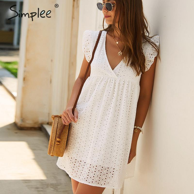 Simplee Elegant Embroidery Cotton Dress Women Lace White V Neck Ruffle Short Female Vestidos Holiday Summer Plus Size Dresses