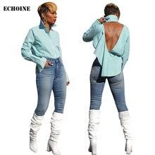 Sexy Backless Striped Print Blouse Shirt Turn-down Collar Long Sleeve Women Blouse Shirt Elegant Irregular Top Chemisier Femme