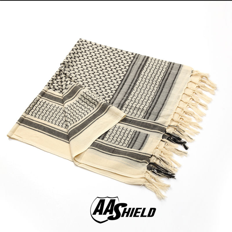 AA Shield Military Arab Lightweight Scarf Desert Tactical Shemagh Army KeffIyeh Outdoor Hunting Scarf Multiple Color White aa shield camo tactical scarf outdoor military neckerchief forest hunting army kaffiyeh scarf light weight shemagh desert dig