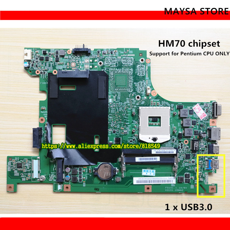Original B590 laptop motherboard HM70 UMA PGA989 DDR3 Apto para Lenovo B590 Notebook PC placa de sistema Totalmente testado