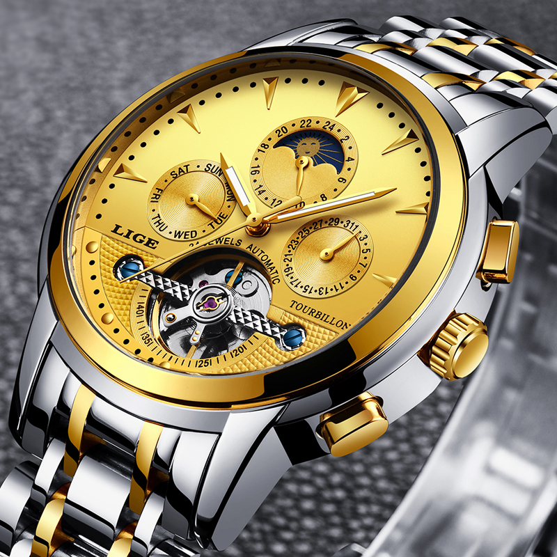 2018 LIGE Gold Watch Men Skeleton Tourbillon Mechanical Automatic Classic All steel Mechanical Wrist Watchs Reloj Hombre Relogio2018 LIGE Gold Watch Men Skeleton Tourbillon Mechanical Automatic Classic All steel Mechanical Wrist Watchs Reloj Hombre Relogio
