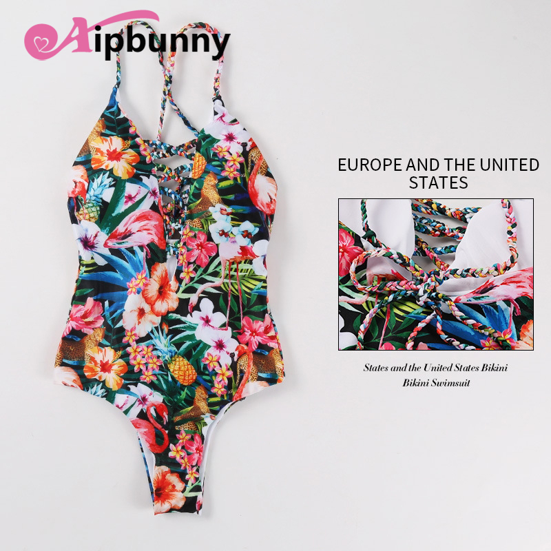 aipbunny flower fruits print bandage one piece swimsuit women maillot de bain femme 2018 bikinis