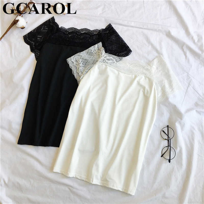 GCAROL 2019 Summer Lace Spliced Sleeve T shirt Chic Sexy Black White Crop Tops Stretch High Street Basic Render Lace Tops
