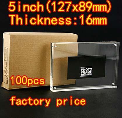 100 peças/lote 5-polegada (127*89mm) ímã Frame Acrílico Da Foto Moldura de Vidro Orgânico Transparente (Espessura: 8mm + 8mm)