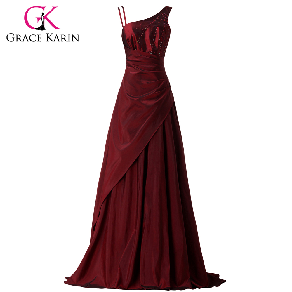 ᗚGrace Karin Evening Dresses Asymmetrical Burgundy Beaded Long ...