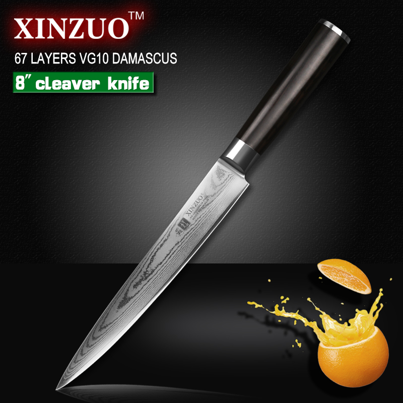 XINZUO 8 inch cleaver font b knife b font 67 layer Japanese VG10 Damascus kitchen font