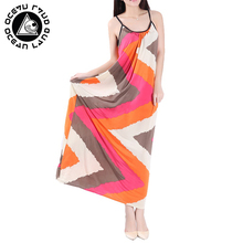 ФОТО ocean land 2018 summer women straight long dress print sherbet  strapped o-ncek vestidos