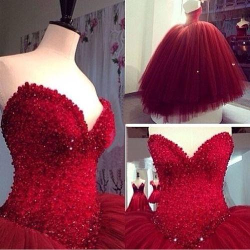 Robes de mariée rouge chérie perles robes de bal Corset robes de mariée Tulle longueur de plancher Vestidos de Festa