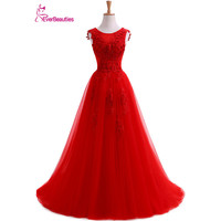 Robe De Soiree Red Evening Dresses Long Plus Size Tulle Prom Lace Up Beaded Gown Vestidos De Festa Elie Saab Abendkleider 2019