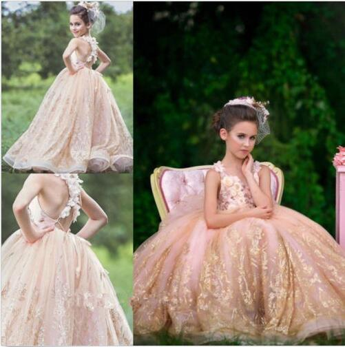 купить Luxury Pageant Party Dress Princess Flower Girl Dresses Formal Sequins Gowns дешево