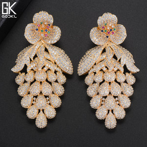 Image 5 - GODKI 75mm Pink Trendy Luxury Grape Nigerian Tassels Long Dangle Earring For Women Wedding Zircon CZ Indian Dubai Bridal Earring